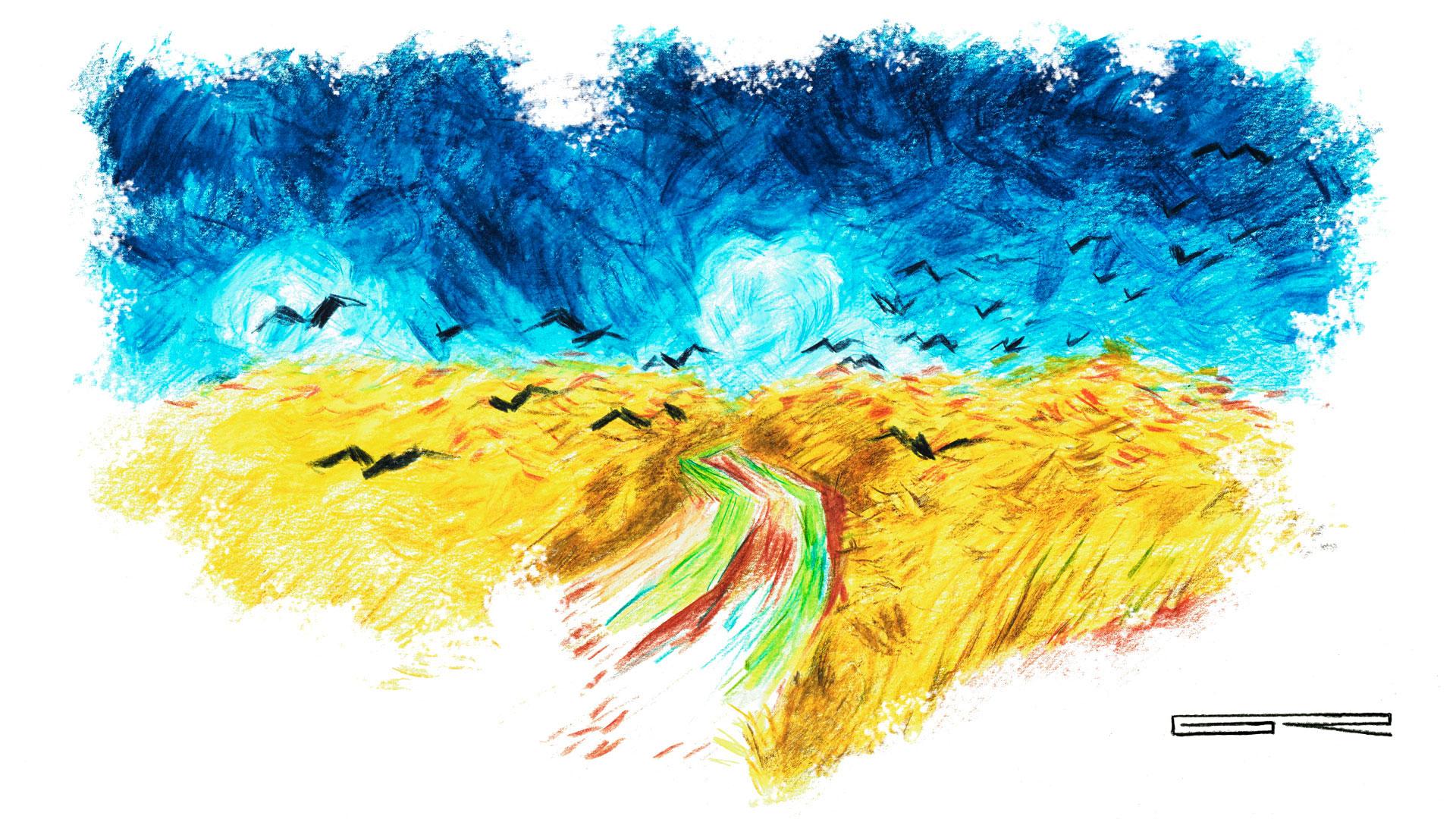 Van Gogh Campo Con Cuervos